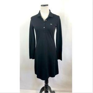 Lacoste Black Pique Cotton Dress Long Sleeves